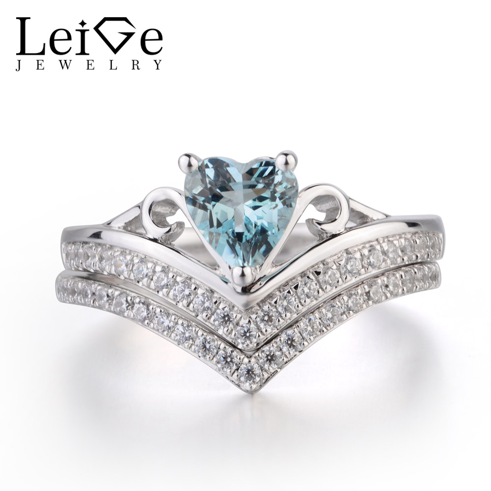 Leige Jewelry Wedding  Rings Natural Aquamarine Ring Blue Gems Heart Cut Gemstone March Birthstone 925 Sterling Silver Ring