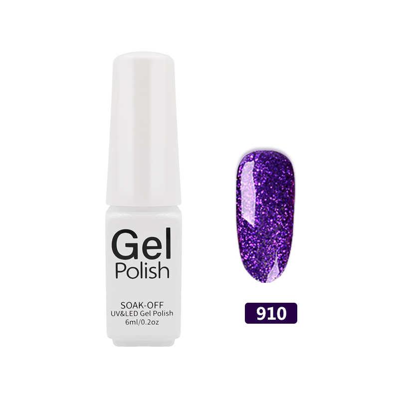 QIPAI żelowy lakier do paznokci Shimmer 3D diament UV 6 ml Soak-Off UV lakier do DIY pół- stałe brokat kolorowy lakier do paznokci