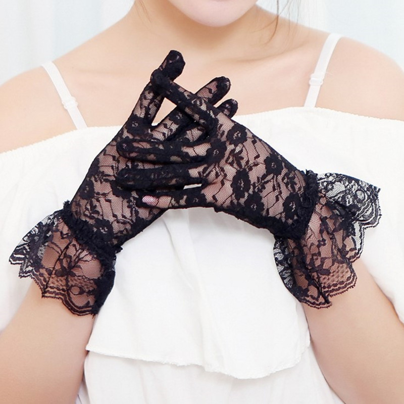 85dc4061a Elegant Tulle White Ivory Lace Finger Short Bridal Gloves Wedding Dress  Accessories Black Red Pink Wrist Length Wedding Gloves-in Bridal Gloves  from ...