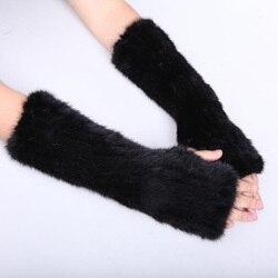 Для женщин натуральная вязаной норки Мех животных зимние пальцев длинные Прихватки для мангала эластичная сетка варежки руки теплее черны...