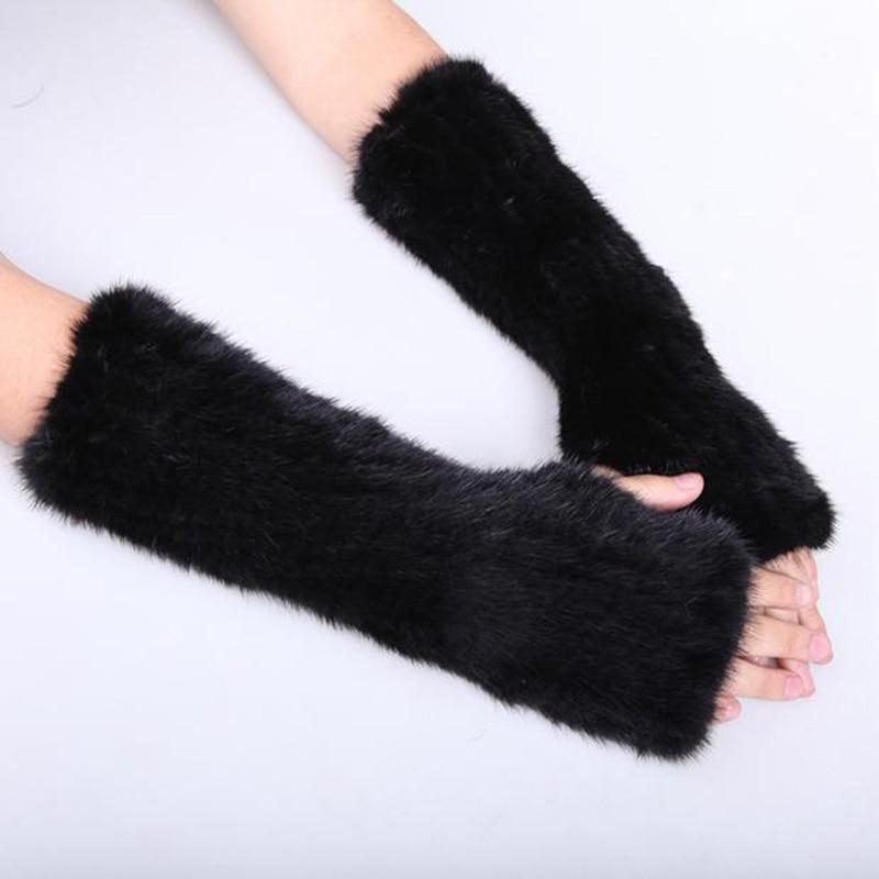Women's Real Genuine Knitted Mink Fur Winter Fingerless Long Gloves Elastic Net Mittens Arm Warmer Black Coffee