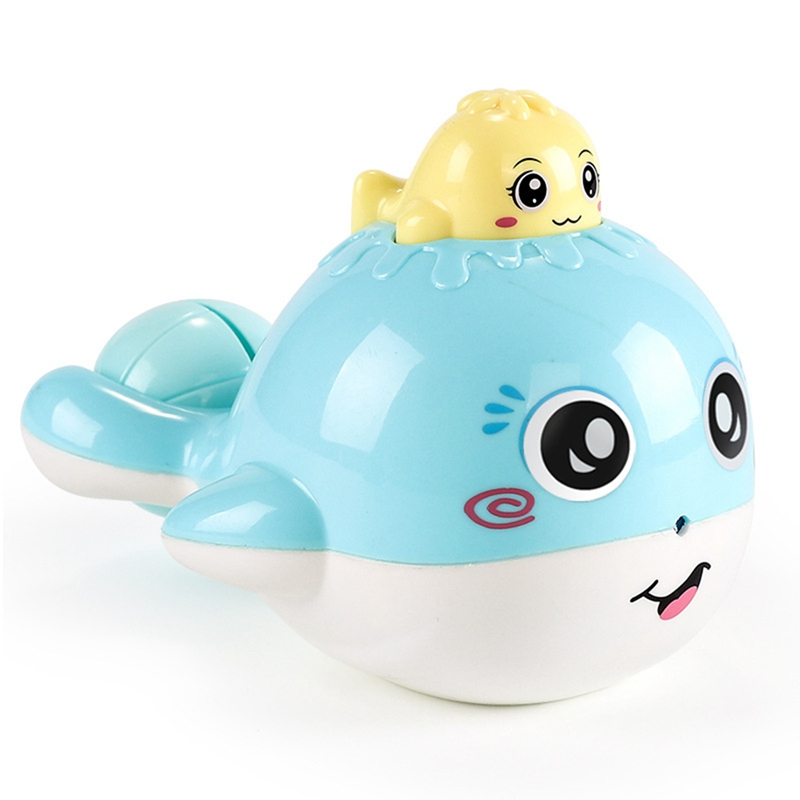 Baby Cartoon Floating Whale Bath Toy Water Spraying Tool Bathroom Shower Toys For Children Hammer Rattles Funny Bathing Games image