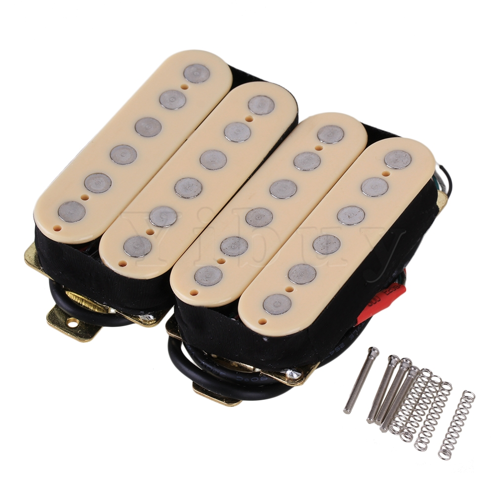 Yibuy 2 x Double Coil Creamy Yellow Metal Electric Guitar Humbucker Ceramice Magnets