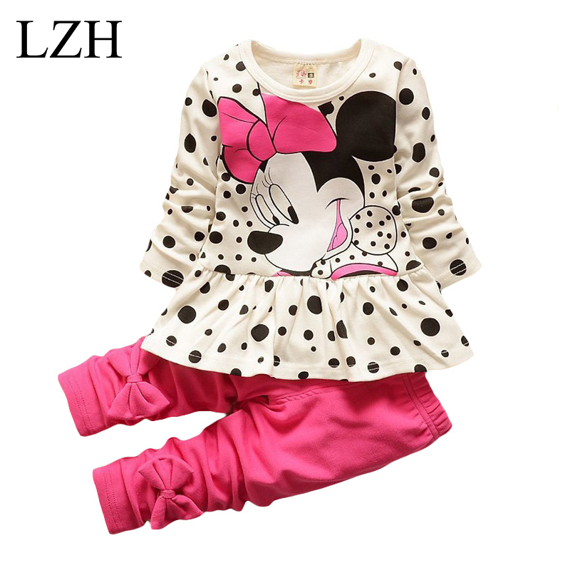Lzh children clothing sets 2017 spring autumn baby girls clothes set long sleeved dot t shirt