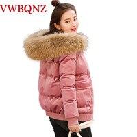 2019 Winter Women Bread clothing Short Jacket Gold velvet Down cotton Parkas Warm Thick Coat Raccoon fur collar Hooded Outerwear
