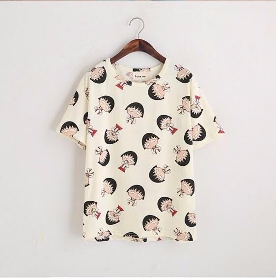 2 Pieces Women T Shirt Fashion O Collar Short Sleeve Summer Tops Tee Harajuku Kawaii Chibi Maruko Printing White Blusas