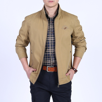 Men clothes 2018 Spring jackets men cotton stand collar letter embroidery military jacket coat middle-aged jaqueta masculina
