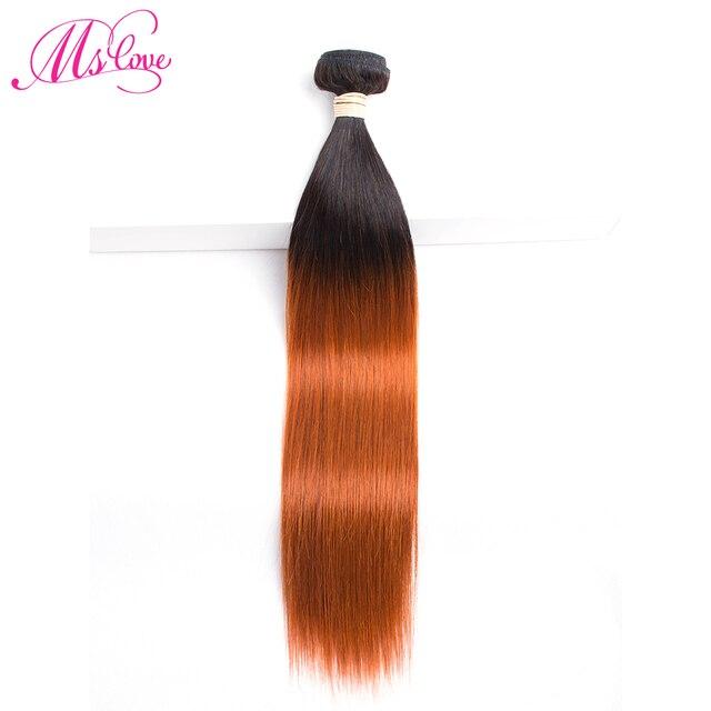MS אהבה כתום שיער טבעי חבילות T1B 350 Ombre ברזילאי שיער ישר ללא רמי הארכת שיער 100 גרם