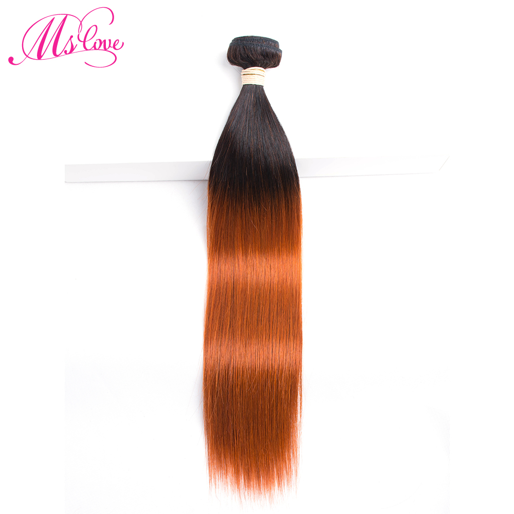 Ms Love Straight Hair Bundle T1B 350 Ombre Brazilian Hair Straight Non Remy Orange Human Hair Extension 100 Gram Per Bundle