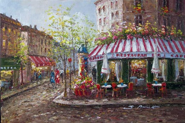 Paris French Restaurant Bistro Sidewalk Oil Painting In Painting