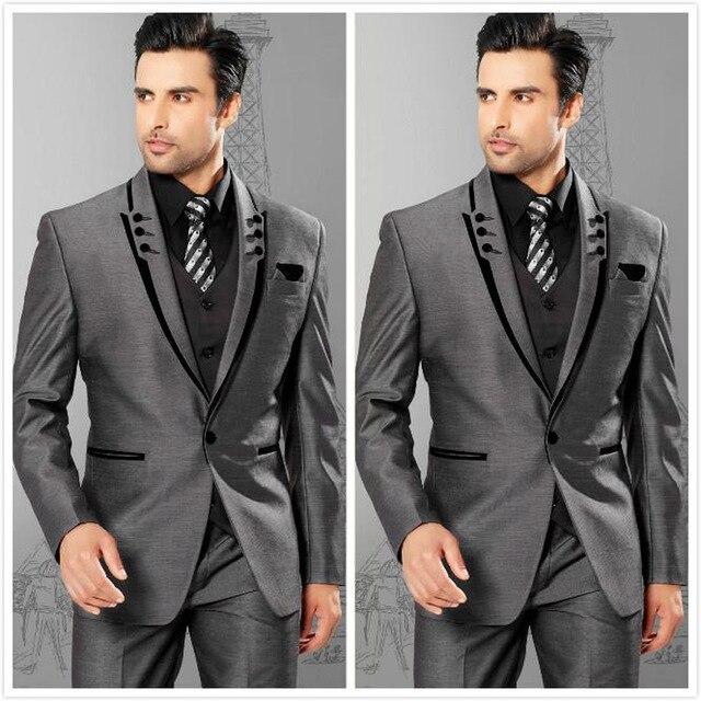 Mannen Pakken Slim Fit Piekte Revers Grijs Bruidegom Smoking Mens Wedding Suits 2017 Bruidsjonkers Past Een Knop Heren (Jas + broek + Vest)-in Pakken van Mannenkleding op  Groep 1