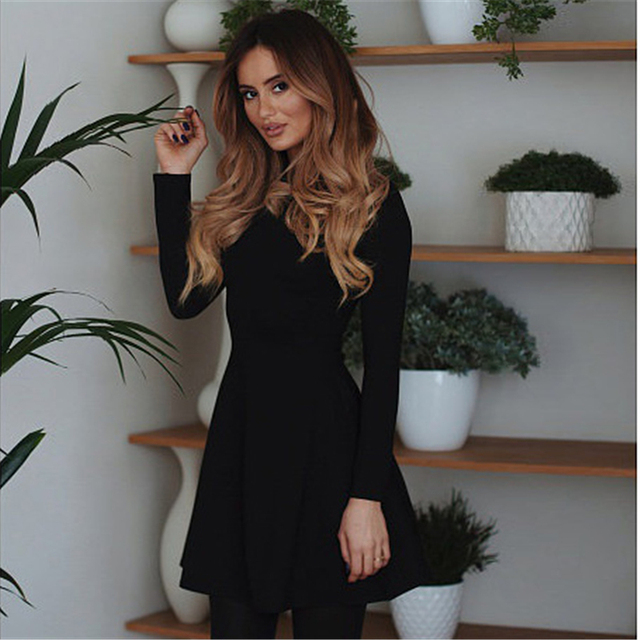AiiaBestProducts - Fashion Women Winter Dress Long Sleeve Bodycon O-neck Casual 5