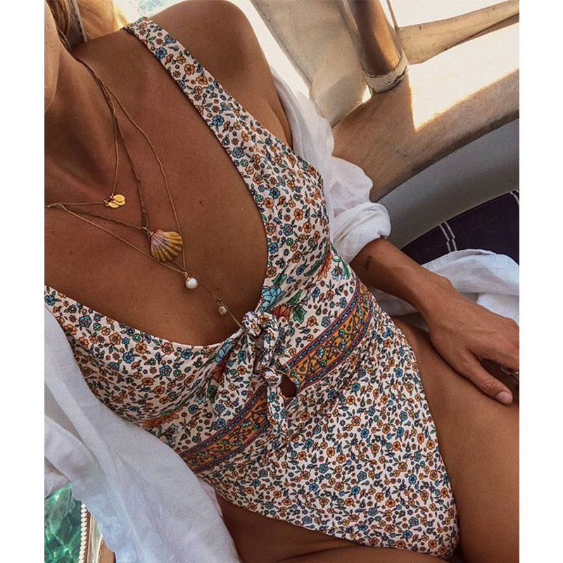 Closeout DealsBikinis One-Piece-Suits Swimwear Women Floral-Print Push-Up Vintage Plus-Size Female