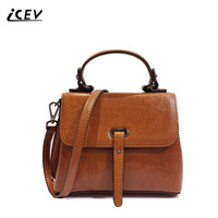 ICEV New Vintage European Fashion Oil Cow Split Leather Ladies Office Totes Women Leather Handbags Women Messenger Bags Cowhide