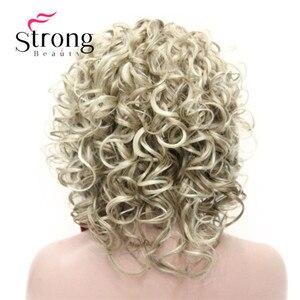 Image 5 - הבהרה בלונד קצר 3/4 נשים של סינטטי פאות פאה מתולתל שיער חתיכה עם סרט צבע אפשרויות
