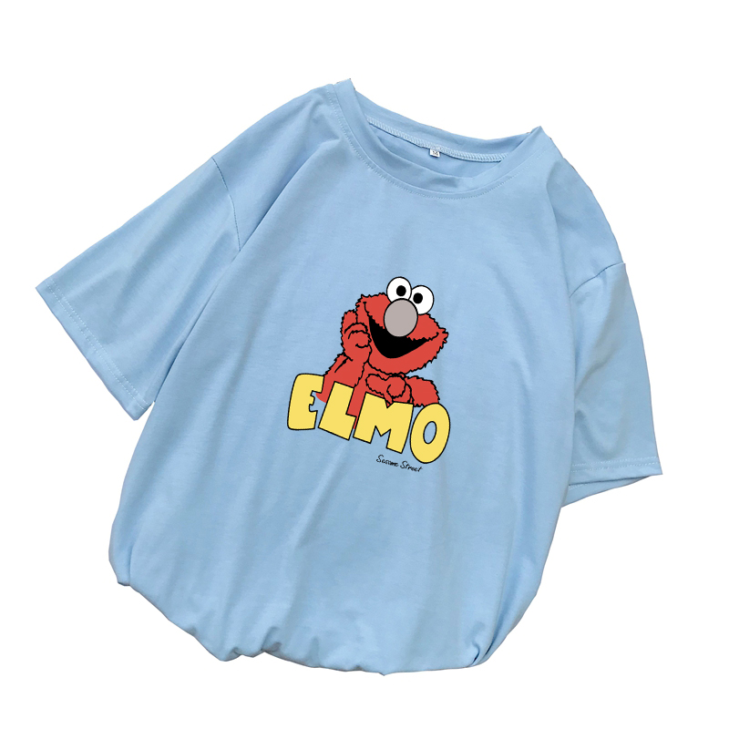 Women Summer Graphic Tee Shirt Femme Funny Cute  Sesame Street Elmo Cartoon Print Harajuku T Shirt Korean Tops Kawaii Streetwear