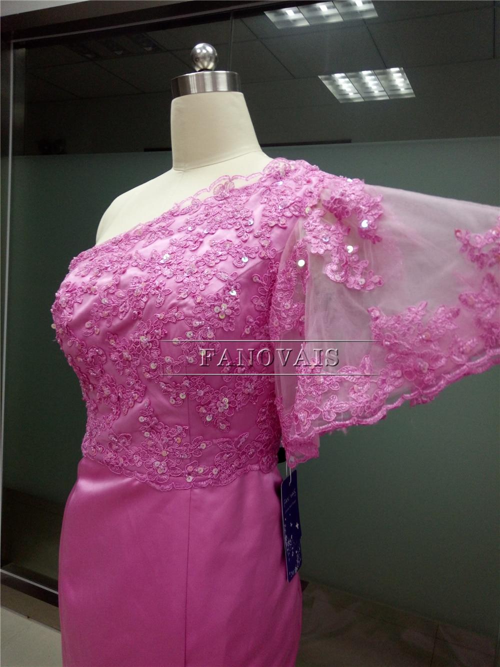 Muestra verdadera Nueva de Un Hombro color de Rosa Caliente Vestidos ...