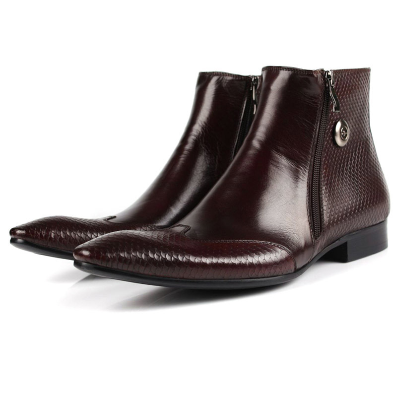 Cow Leather Chelsea Boots Pointed Toe