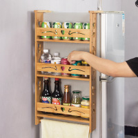 Bamboo refrigerator rack kitchen storage rack Side hanging refrigerator spice rack seasoning finishing shelf wx11261053