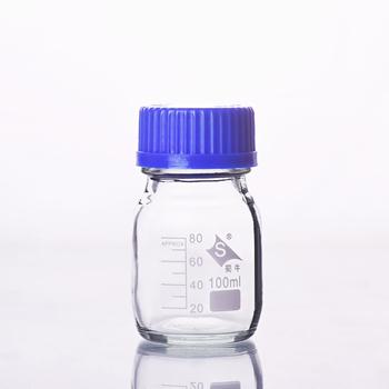 4 szt Butelka odczynnika z niebieską przykręcana pokrywa normalne szkło pojemność 100 ml fiolka z próbką podziałki plastikowa pokrywka tanie i dobre opinie NoEnName_Null Normal glass Przezroczysty Laboratorium butelki Reagent bottle 100ml