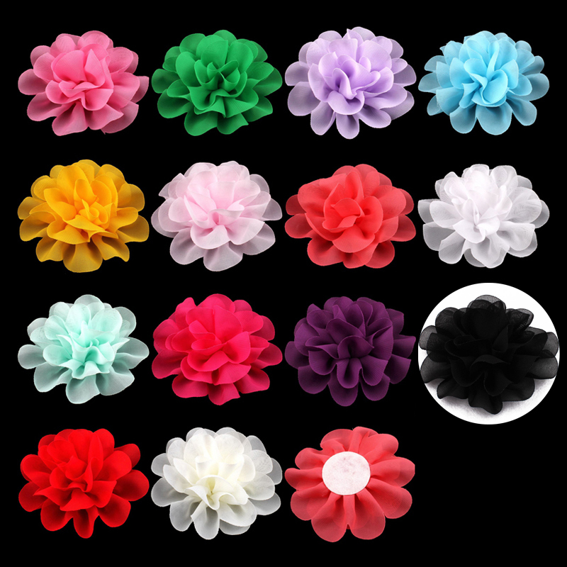 120pcs/lot 10cm 14 Colors Big Fluffy Chiffon Flowers For Kids Girls Hair Accessories Artificial Fabric Flowers For Headbands