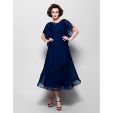 2018 Mother of the Bride Dresses Tea Length Navy Blue Chiffo
