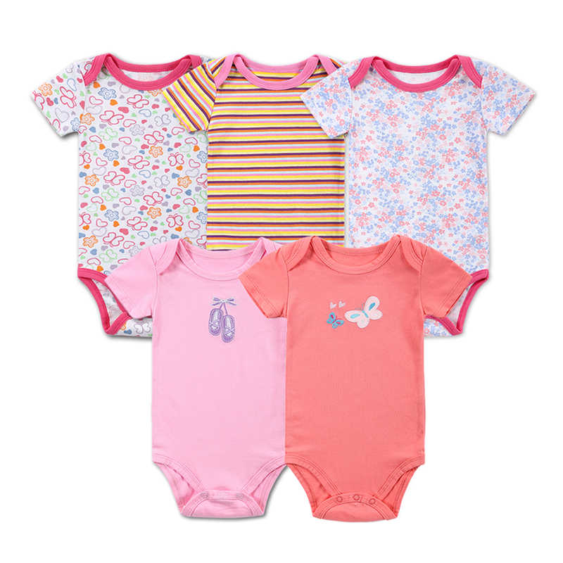 3\5PCS Baby Bodysuit 100%Cotton Infant Body Baby Short Sleeves Clothing Jumpsuit Printed Baby Boy Girl Bodysuits Baby Clothing