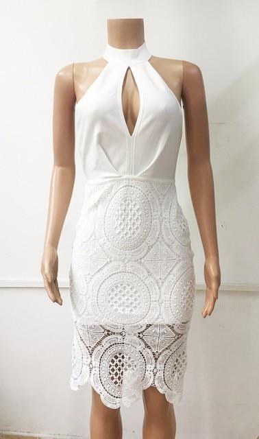 Women sexy lace hollow out celebrity bandage dress white black backless open back halter party mini dress drop ship HL457