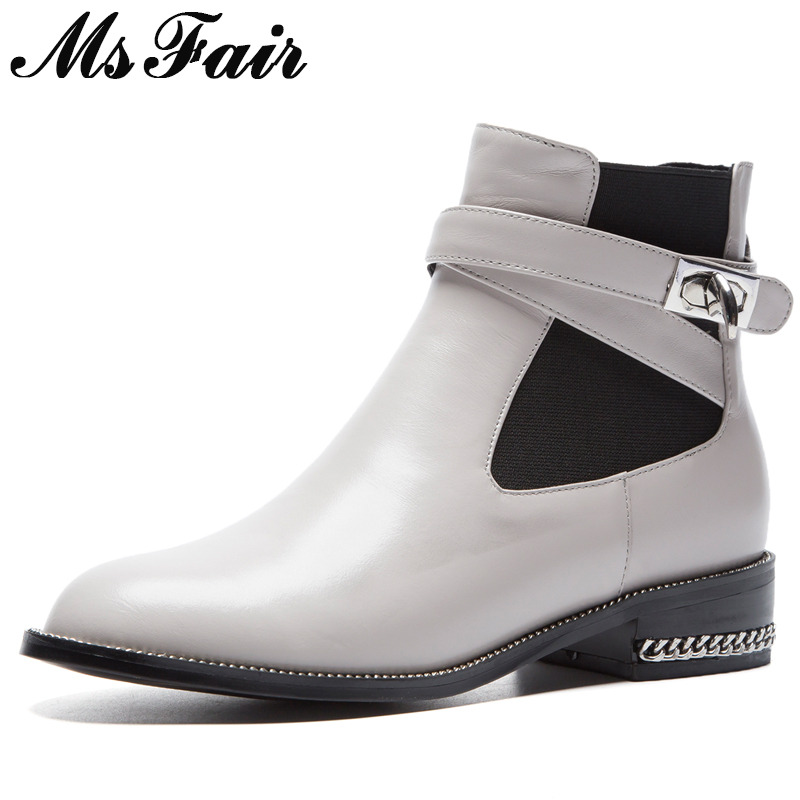 MSFAIR Round Toe Square heel Women Boots Fashion Metal Buckle Ankle Boots Women Shoes Low Heel Black Gray Boots Shoes Woman 2018 2018 new spring summer shoes woman ankle hollow boots metal buckle genuine leather mortorcycle boots low thick heel women shoes