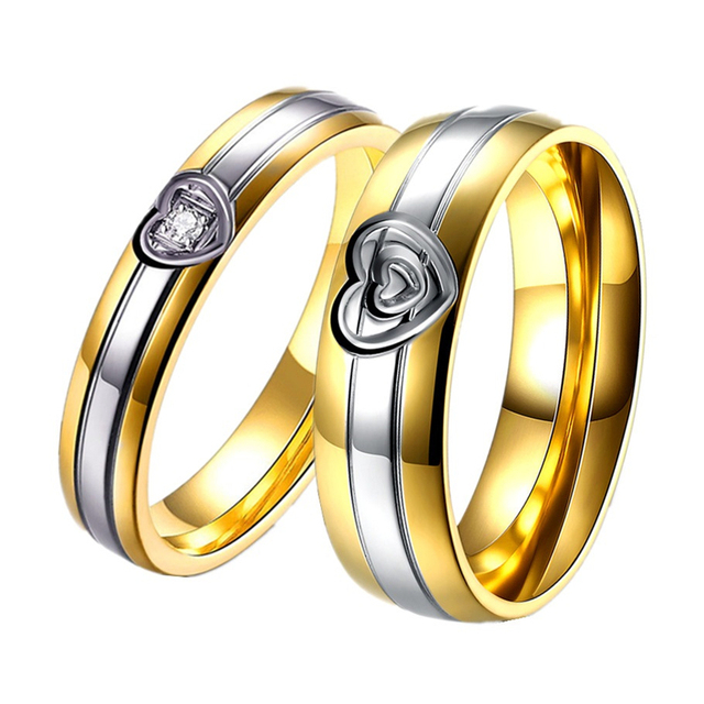 1 pair gold color couples wedding rings for men and women heart promise rings for couples - Couples Wedding Rings