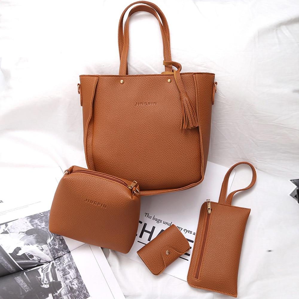 Xiniu Four 4 Pieces Tote Bag Crossbody Bag For Women Luxury Totes Women's Messenger Shoulder Bags Designer Four Set Handbags-in Top-Handle Bags ...