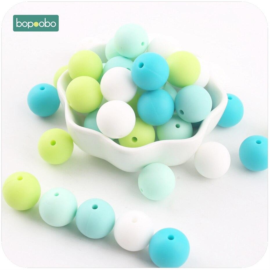 Bopoobo 40pc Baby Teether Colorful Series Silicone Bead Food Grade Teething DIY Nursing Bracelet Bead Baby Teether 12mm pdrh010 colorful glass bead classic bracelet