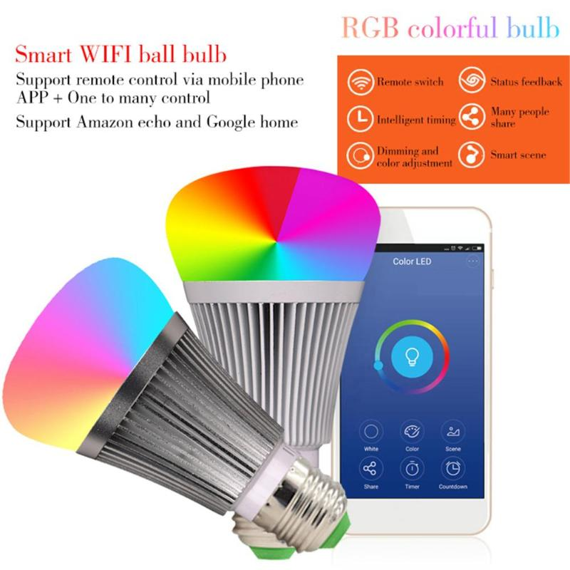 Wireless WIFI APP Remote Control Lamp AC85-265V 7W RGBW E27 B22 LED Bulb Home Colorful Lighting Smart Bulb