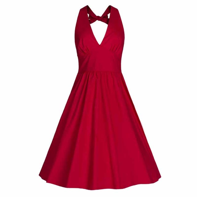 Sexy Summer Dress Vintage Rockabilly Party Deep V Neck Strap Dresses Clubwear Classic Pleated  Dress Vestidos New Clothings