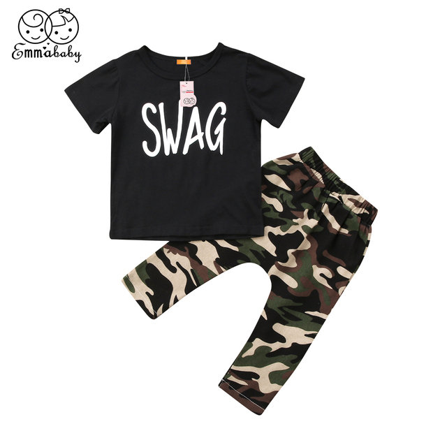 ff5610bf0 Fashion Baby Boys Outfit 2Pcs SWAG Tops Short Sleeve T-shirt Camo Pants  Toddler Kid's Wear Children's Clothing Set