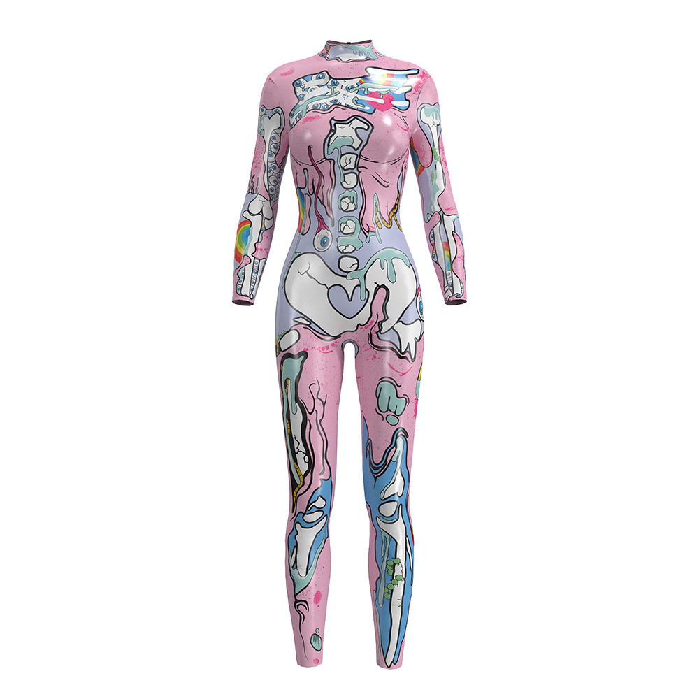 5275f8295b8a JIGERJOGER Pink Halloween one piece full length high neck jumpsuit 3D  digital printing Playsuit Bodysuit Long