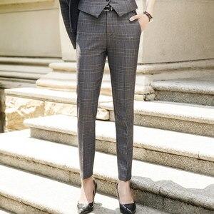 Image 3 - Naviu جديد الموضة النساء سراويل شتوية العمل مكتب الأعمال السيدات حجم كبير السراويل منقوشة ضئيلة