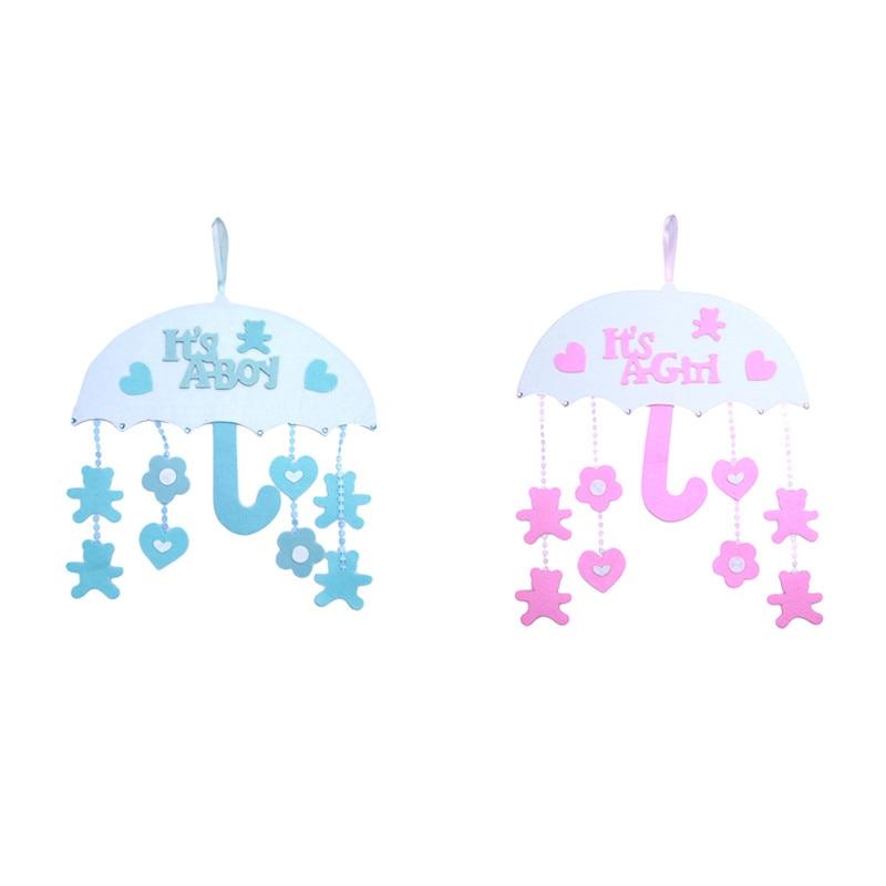 umbrella ornaments baby shower boy girl christening pink blue birthday