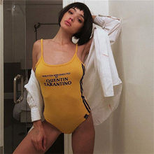 hot sale Women Sexy Slim Bodycon Bodysuit Cotton yellow Hollow Out Shoulder Strap Letter printing sleeveless Rompers(China)