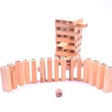 2016 Новый Деревянный Башня Деревянные Блоки Игрушки Домино 54 + 4 шт. Укладчик Экстракт Строительство Развивающие Jenga Игра Подарок