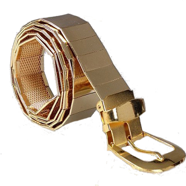 d0865fb23 2016 Men Cool Belt Fashion Gold Alloy Sheet Connect Pin Buckle Pant Strap  Hollow Grid Solid Color Full Metal Belts For Mens