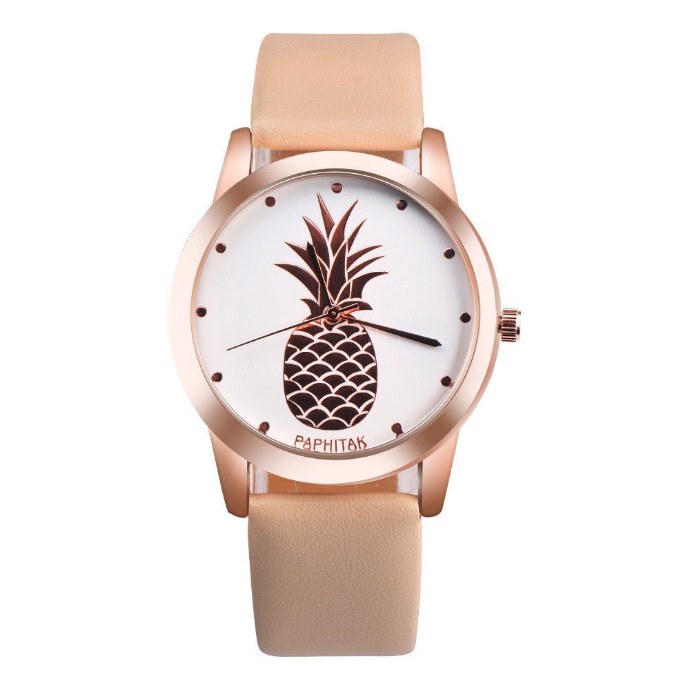 Relogio Women Watches Top Brand Pineapple Ladies Watch Leather Band Quartz Clock Female Watch Student Montre Bayan Kol Saati *A