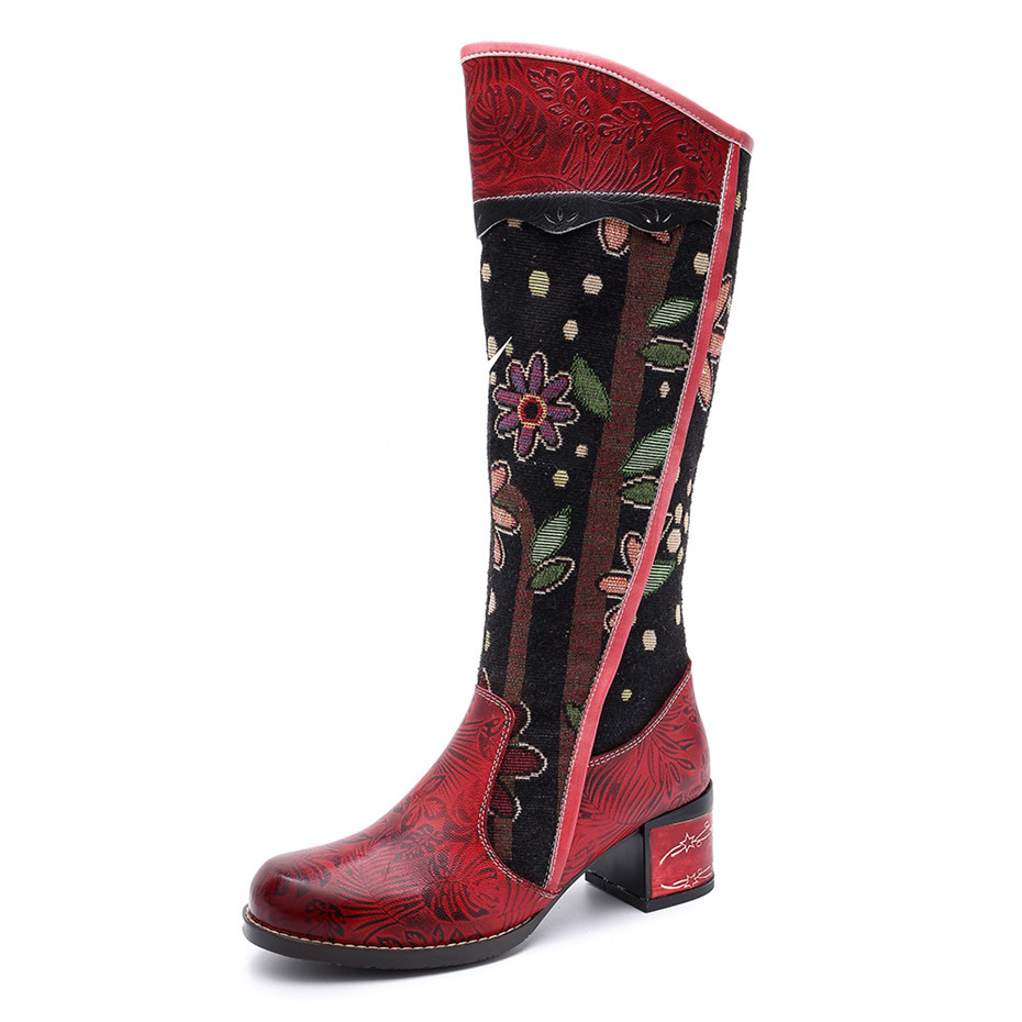 Fashion Patchwork Western Cowboy Boots Women Shoes Bohemian Genuine Leather Shoes Woman Vintage Side Zip Knee High Riding Boots (12)