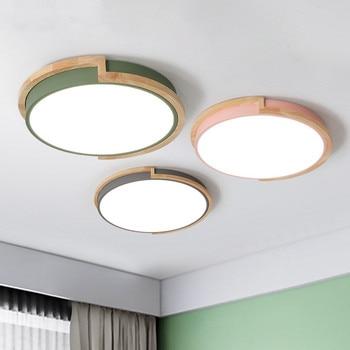 Hout Circulaire Led Plafondlamp Surface Mount Afstandsbediening Multicolour Foyer Slaapkamer Restaurant Plafond Verlichtingsarmaturen
