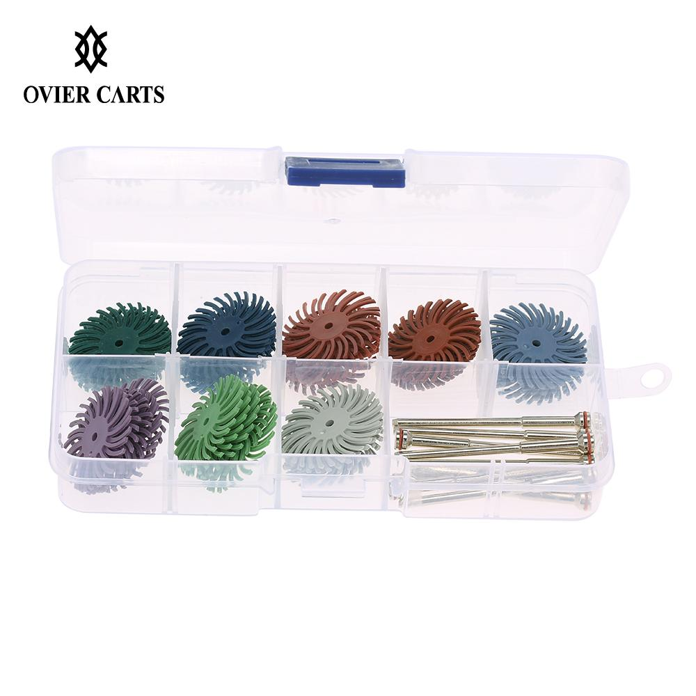 40Pcs Polisher & 10Pcs Mandrel for Wood Jewelry Dental Polishing Use Polishing Bristle Disc Brush Assortment(China)