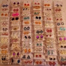 36 пар женские серьги корейский стиль металлические стразы pendientes mujer moda висячие серьги Модные ювелирные изделия Прямая поставка