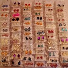 2020 36 pairs womens earring Korean style metal rhinestone pendientes mujer moda drop earrings fashion jewelry dropshipping