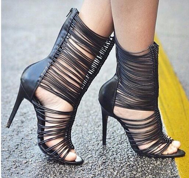 New Fashion Lace-Up Ankle Boots Women Peep Toe High Heels Slingback Ankle Wrap Summer Sandal Boots Sexy Dress Party Shoes women fashion lace up cut out ankle boots sexy high heels black party shoes open toe short booties stiletto pumps zg938 73