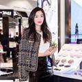 2017 primavera/otoño Mujeres de lujo color de la mezcla de punto de lana de Chaqueta de Tweed Crop metálico delgado coat diseñador runway Marca cc prendas de vestir exteriores