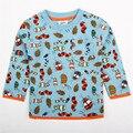 2015 natrual estilo ropa de los niños del algodón del muchacho azul de manga larga con lindo patten camiseta del muchacho barato venta nova embroma la ropa